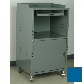 """Stackbin Mobile Computer Cabinet, 27""""W x 24""""D x 50""""H, Blue"""