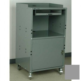 """Stackbin Mobile Computer Cabinet, 27""""W x 24""""D x 50""""H, Gray"""