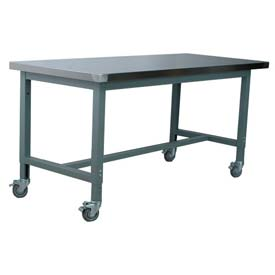 "Stackbin Workbench, 1012 Series, Hardboard Over Stainless, 72""W X 30""D, Gray"