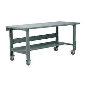 "Stackbin Workbench, 3512 Series, Hardboard Over Stainless, 72""W X 30""D, Gray"