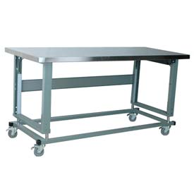 """Stackbin Workbench, 2500 Series, Electric Lift, Hardboard Over Stainless, 96""""W X 36""""D, Blue"""
