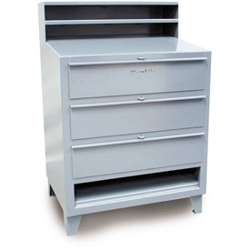 "36""W x 28""D 3 Drawer Desk with Paper Compartment - Gray"