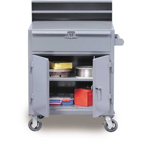 "36""W x 28""D Mobile Shop Desk - Gray"