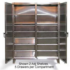 Strong Hold® Independent Lock Cabinet 56-DS-246-8DB-SS - SS 2-Door w/8 Drawers 60 x 24 x 78