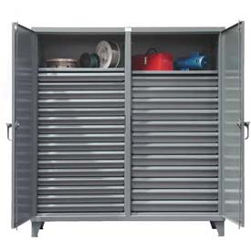 Strong Hold® Independent Locking Cabinet 66-DS-242-28DB - Double Door w/28 Drawers 72x24x78