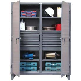 Strong Hold® Independent Locking Cabinet 66-DS-246-8DB - Double Door w/8 Drawers 72 x 24 x 78