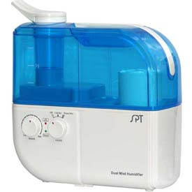 Sunpentown SPT Dual Mist Humidifier W/ION Exchange Filter, Up To 500 Sq. Ft., 4L Tank, BL/WH by