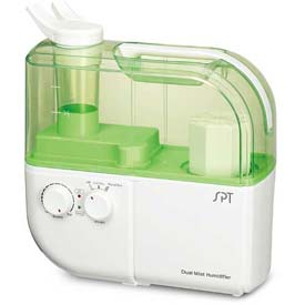 Sunpentown SPT Dual Mist Humidifier W/ION Exchange Filter, Up To 500 Sq. Ft., 4L Tank, GR/WH by