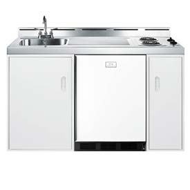 "Summit C60EL - 60"" W All-In-One Kitchen, 2 Burners, Cycle Def Refrigerator-Freezer, Sink, Cabinets"