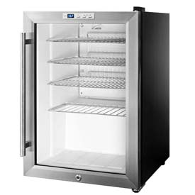 Summit SCR312L - Countertop Beverage Cooler, Black, Glass Door, Lock
