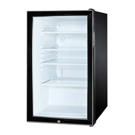 "Summit SCR500BL - 20""W Glass Door All-Refrigerator For Freestanding Use, Auto Defrost, Lock, Black"