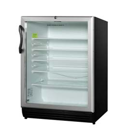 Summit SCR600BLADA - ADA Comp Glass Door All-Refrigerator, Black, Front Lock