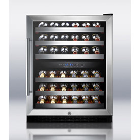 Summit SWC530LBIST - Dual Zone Built-In Wine Cellar, Digital TSTAT, S/S Trimmed Shelves, Black