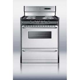 "Summit TEM230BKWY - Deluxe 220V Electric Range, S/S Doors, Clock/Timer, Oven Window, Light In 30""W"