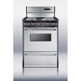 "Summit TEM630BKWY - Deluxe 220V Electric Range, Slim 24""W, Stainless Steel Doors"