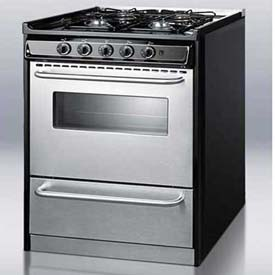 "Summit TNM21027BFRWY - Slide-In Gas Range, 30""W,, Stainless Steel Doors, Four Sealed Burners"