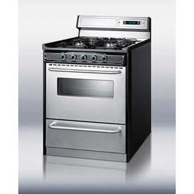 "Summit TNM23027BFKWY Deluxe Gas Range, Slim 30""W, Stainless Steel Doors, Four Sealed... by"