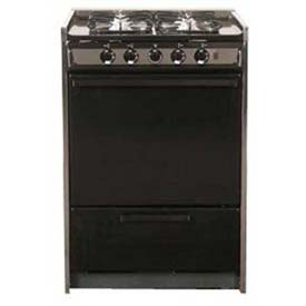 "Summit TNM616R Slide-In Gas Range, Slim 24""W,, Black Porcelain Construction, Four... by"