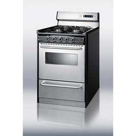 "Summit TNM63027BFKWY - Deluxe Gas Range, Slim 24""W, Stainless Steel Doors, Four Sealed Burners"
