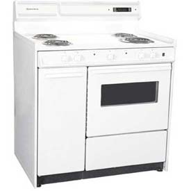 "Summit WEM430KW - Electric Range, 220V, White, Clock Timer, Oven, Light, 36""W"