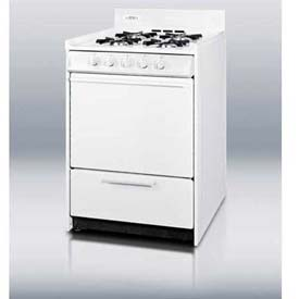 "Summit WNM1107 White Gas Range, Slim 20""W, Electronic Ignition by"