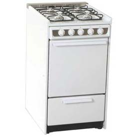 "Summit WNM114R Slide-In Gas Range, Slim 20""W,, White Porcelain Construction, Four... by"
