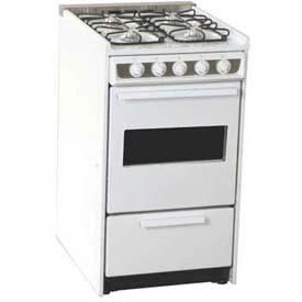 "Summit WNM114RW Slide-In Gas Range, Slim 20""W, Oven Window, White by"