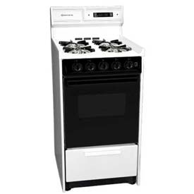 "Summit WNM1307DFK DLX Gas Range, Slim 20""W, Sealed Burners, BK Glass Oven Door, WH... by"