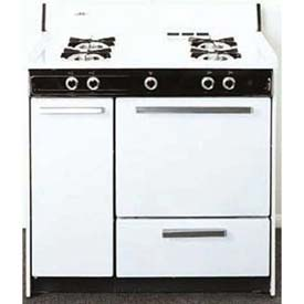 "Summit WNM4307 White Gas Range, Electronic Ignition, 36""W by"