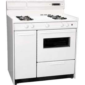 Summit WNM4307KW Deluxe White Gas Range, Electronic Ignition, Clock/Timer, Oven Window... by