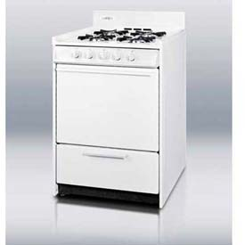 "Summit WNM6107F White Gas Range, Slim 24""W, Electronic Ignition, Sealed Burners by"
