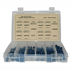 "160 Piece Masonry Screw Assortment - #10 (3/16) to 1/4"" - Phillips Flat Head - Blue"