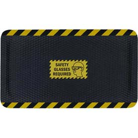 "Hog Heaven™ Sign Mat, Safety Glasses Required, Horizontal Yellow Border, 58""x33""x5/8"""