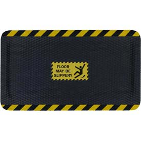 "Hog Heaven™ Sign Mat, Floor May Be Slippery, Vertical Yellow Border, 69""x46""x5/8"""