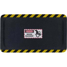 "Hog Heaven™ Sign Mat, Danger Moving Machinery, Vertical Yellow Border, 69""x46""x7/8"""