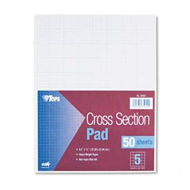 Cross Section Pad, 8-1/2 x 11, 5 Squares/Inch, 20-lb., 50 Sheets/Pad