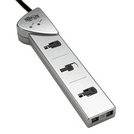 Protect It! 7-Outlet Surge Protector, 7-ft. Cord, 1080 Joules, Tel/Modem Protection, Silver Housing