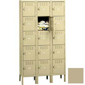 Tennsco Box Locker BK5-121212-3 214 - Five Tier w/Legs 3 Wide 12x12x12 Unassembled, Sand