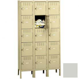 Tennsco Box Locker BS5-121212-3 053 - Five Tier w/Legs 3 Wide 12 x 12 x 12, Assembled, Light Grey