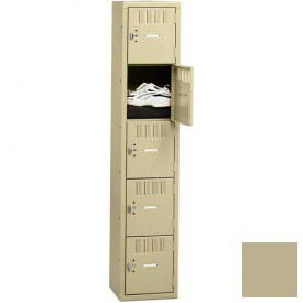 Tennsco Box Locker BS5-121512-A 214 - Five Tier No Legs 1 Wide  12 x 15 x 12, Assembled, Sand