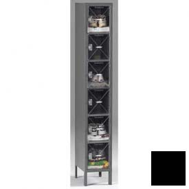 Tennsco C-Thru Box Locker CBL6-121512-1 03 - Six Tier w/Legs 1 Wide 12x15x12, Assembled, Black
