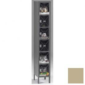 Tennsco C-Thru Box Locker CBL6-121512-1 214 - Six Tier w/Legs 1 Wide 12x15x12, Assembled, Sand