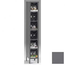 Tennsco C-Thru Box Locker CBL6-121812-1 02 - Six Tier w/Legs 1 Wide 12x18x12, Assembled, Medium Grey