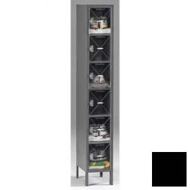 Tennsco C-Thru Box Locker CBL6-121812-1 03 - Six Tier w/Legs 1 Wide 12x18x12, Assembled, Black