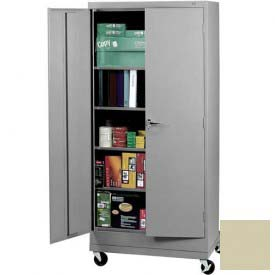 "Tennsco Mobile Deluxe Storage Cabinet CK2470 216 - Unassembled 36""W X 24""D X 78-3/4"" H, Putty"