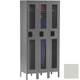 Tennsco C-Thru Locker CSL-121272-3 053 - Single Tier w/Legs 3 Wide, 12x12x72, Assembled, Light Grey