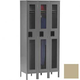 Tennsco C-Thru Locker CSL-121272-3 214 - Single Tier w/Legs 3 Wide, 12x12x72, Assembled, Sand