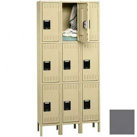 Tennsco Stee Locker TTS-121224-3 02 - Triple Tier w/Legs 3 Wide 12x12x24 Assembled, Medium Grey