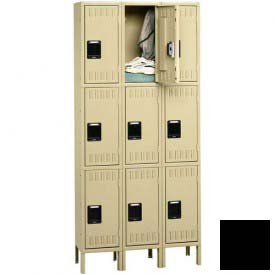 Tennsco Stee Locker TTS-121224-3 03 - Triple Tier w/Legs 3 Wide 12x12x24 Assembled, Black