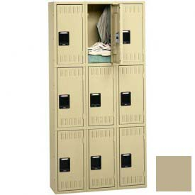 Tennsco Stee Locker TTS-121224-C 214 - Triple Tier No Legs 3 Wide 12x12x24 Assembled, Sand